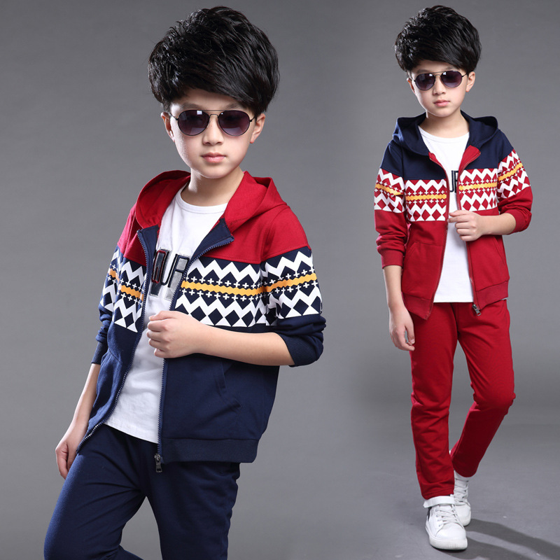 Childrens Spring and Autumn Boys Suit Sports Fleece Two-piece Outfit Kids Clothing Sets Red Dark Blue<br>