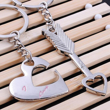 (12 pairs/lot)Creative Couple Keychain for Keys Cupid A Mandrel Key Chain Ring Holder Valentines Birthday Gifts for Lovers