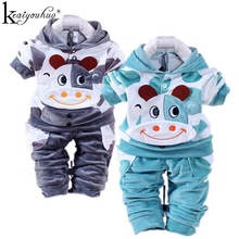Baby Boy Clothes Sport Suit 2017 Autumn/Winter Girl Rabbit Velvet Long Sleeve Hoodie NewbronGirls Clothes Sets Infant Clothing