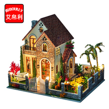 DIY 3D Wooden Dollhouse Big Villa House Handmade Decorations Birthday Gift Children Toy With Furnitures for Birthday Gift(China)