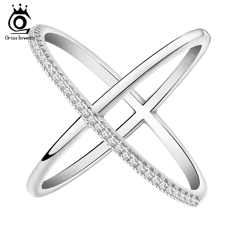 ORSA JEWELS 2017 Newest Design Infinity Ring with 36 Pieces Micro Paved CZ Fashion Women Silver Color Rings Wholesale OR66(China)