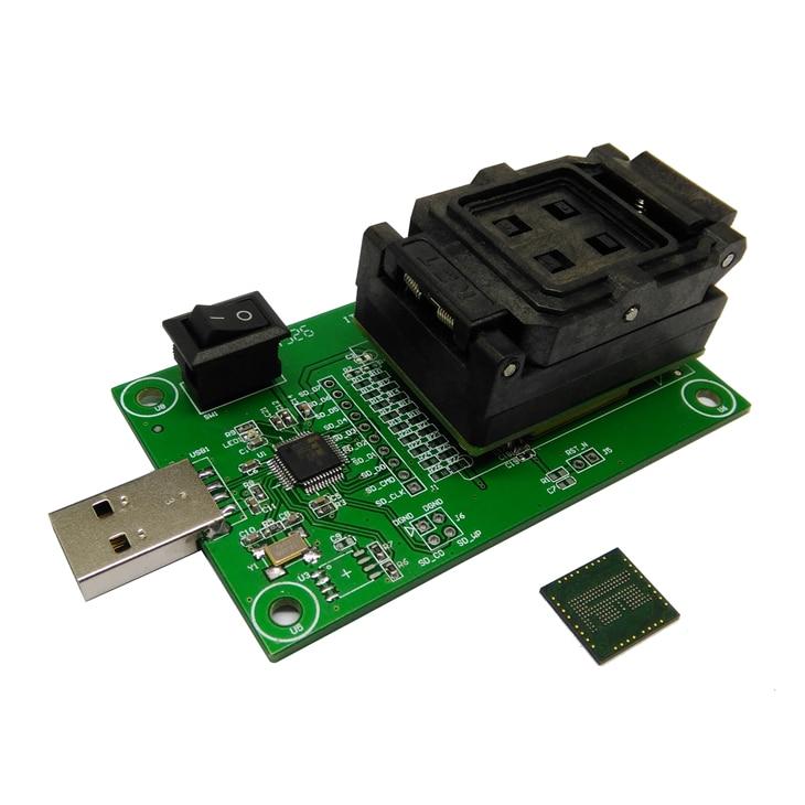 eMCP162 Socket to USB, for BGA162 BGA186 testing, Chip Size 11.5*13mm, eMCP programmer Clamshell Test Socket For Data Recovery<br><br>Aliexpress