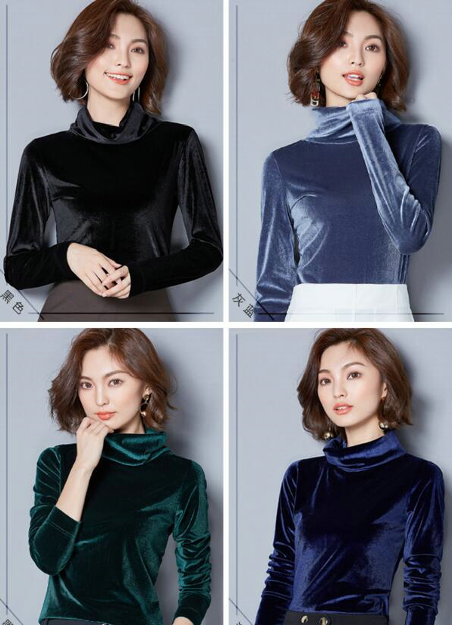 WANXIANGYUAN Women Long Sleeve Blouse 2017 Autumn Fashion Turtleneck Shirt Women Ladies Velvet Warm Blouses Shirts for Women 02
