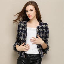Autumn and winter women sweet little fragrance fringed tweed fashion brand original single lattice woolen short blazer w1944