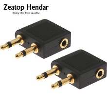 500pcs New Gold 3.5mm to Dual x 3.5mm Airplane Airline Headphone Earphone Jack Audio Adapter Black