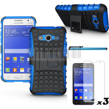 Phone Cases For Samsung Galaxy Core 2 G355 Hybrid Protective Armor Case Hard Cover+Film +Stylus