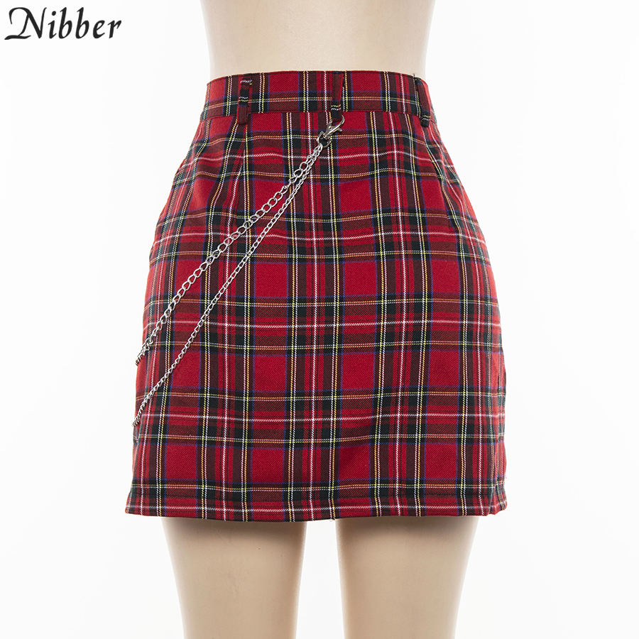 Nibber spring Vintage red Plaid mini skirts Women 19 summer fashion office lady club party casual short pleated skirts mujer 13