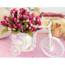 DIY BEST GIFT White Tricycle Bike Plastic Design Flower Basket Container For Flower Plant Home Weddding Decoration