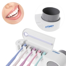 UV Light Sterilizer Toothbrush Holder Cleaner & Automatic Toothpaste Dispenser(China)