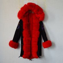 2017 TOP UK Flag Bright Red Color Russia Fur Coat Biggest Real Fox Collar, Hoodies,Cuffs Black MR MRS Jacket(China)
