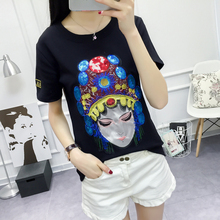 2017 Fashion Clothing Women Summer New Cotton T-shirt Cartoon Avatar Embroidery T-shirt Casual Short Sleeves Tops T Shirt Women