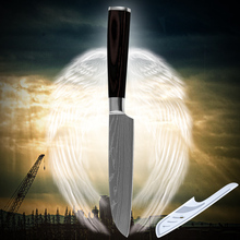 Cooking tools stainless steel knife santoku knife 5 inch kitchen knife laser etched Damascus veins luxurious quality kitchenware