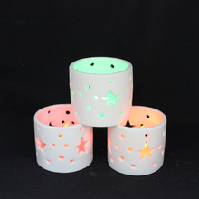 Ceramic Candle holder with holes star and Tea led light for Holiday