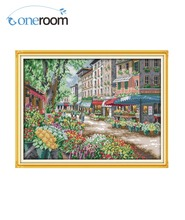 1th Oneroom Paris Flower Market Cross Stitch 11CT 14CT Cross Stitch landscape Cross Stitch Kits Needlework Crafts DIM-35256 F664