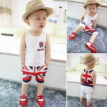 SS18 0-4Y summer baby boys clothing sets British flag print kids clothes sleeveless Vest Shorts suits toddler casual t shirt