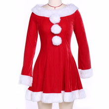 Women's Sexy Christmas Gift Festival Costumes Hooded Red Corduroy Xmas Corsets Bustiers Santa Claus Dress With Hat Set(China)
