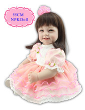 Princess 55cm 22'' Beautiful Silicone Reborn Baby Dolls With Fashion Design Dress Unique Lifelike Reborn Toddler Dolls For Girls(China)