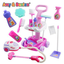 Free Shipping ! New Girls play house toys Simulation children cleaning trolley with vacuum cleaner tools hygiene Girls gifts