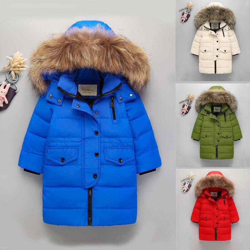 High Quality 2017 New Boys Thick Warm Down Jacket For Girls real Raccoon Fur Hooded Collar Jacket Kids  Duck Down Outerwear CoatÎäåæäà è àêñåññóàðû<br><br>