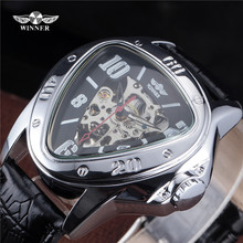 WINNER Silver Steel Case Popular Outdoor Sport Skeleton Style Triangle Dial Clock Leather Band Automatic Mechanical Men Watch(China)
