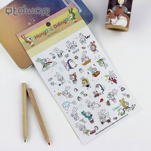 6 Sheets/Pack Book Sticker Rabbit Diary Scrapbook Calendar Notebook Label Decoration Stationery To Send Their Children Best Gift(China)