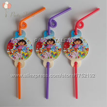 Party supplies 12PCS children kids DORA THE EXPLORER theme party decoration disposable tableware Straw