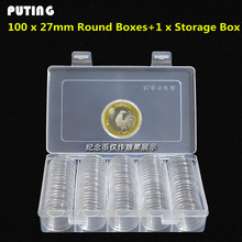 100pcs/box Coin Box Clear 27mm Round Boxed Coin Holder Plastic Storage Capsules Display Cases Organizer Collectibles GPD8324(China)