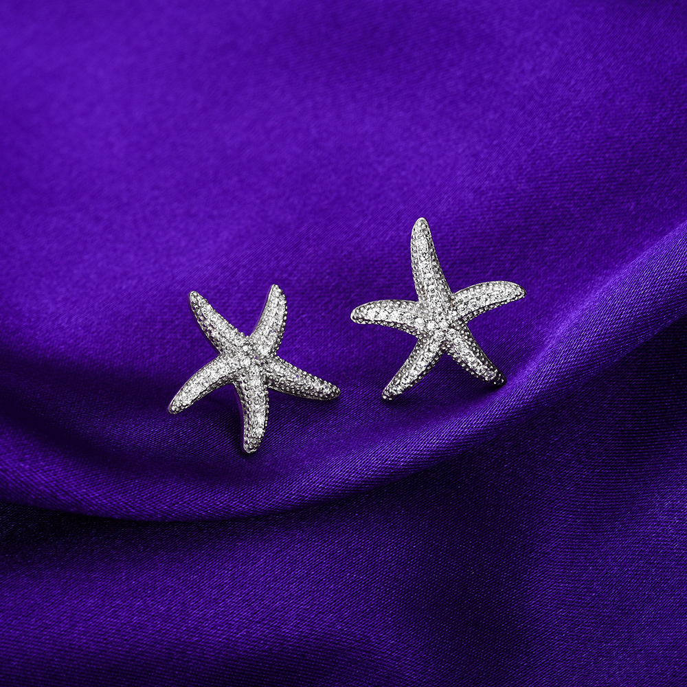 Clear CZ Stone Star Fish Stud Earrings