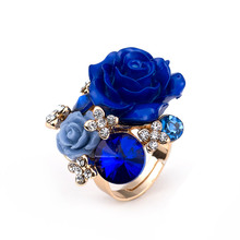 2017 New Cheap Big Crystal Rose Flower Adjustable Women Wedding Party Golden  Jewelry Finger Rings Bijoux homme rose flower ring