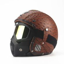 Leather Harley Helmets 3/4 Motorcycle Chopper Bike helmet open face vintage motorcycle helmet with goggle mask motocross(China)