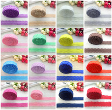 "5yards/lot 3/4"" 20mm Multirole Fold Over Elastic Spandex Lace Band Ties Hair Accessories Lace Trim Sewing Notion #AND001"