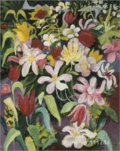Carpet of flowers August Macke painting Decorative art Handmade High quality(China)