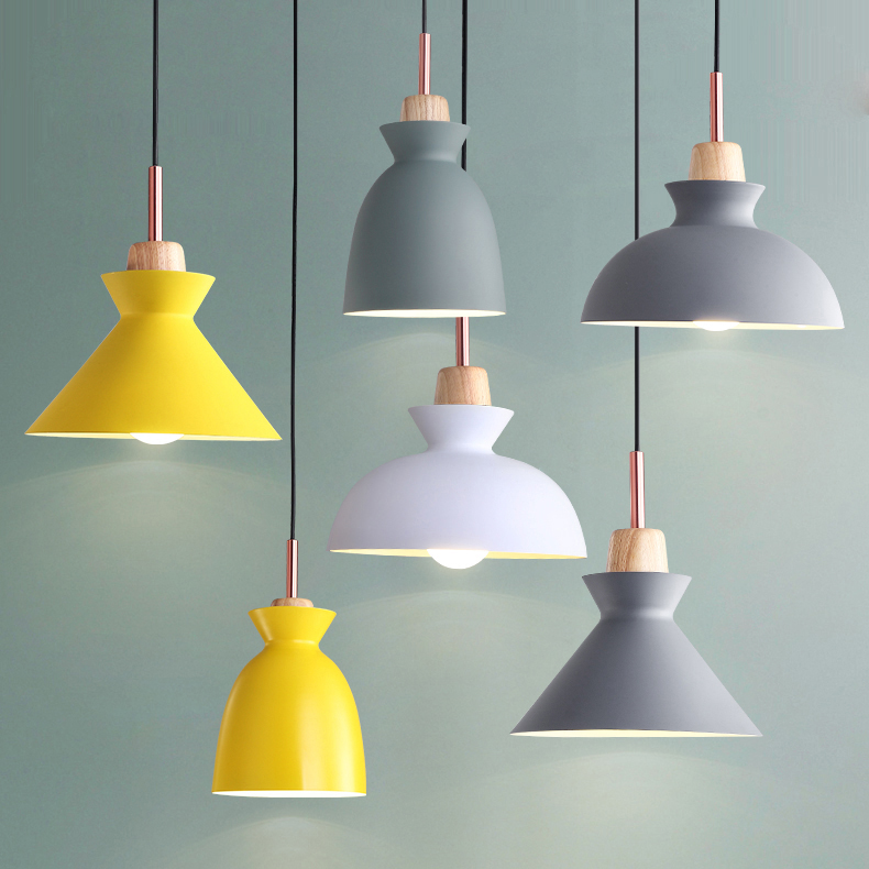 [iyoee] Modern Wood pendant lights, 90-260V E27 woodwork 7 colour lampshade, household decorative home lighting(China)