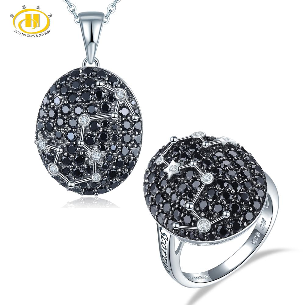 Hutang Scorpio Black Spinel Jewelry Sets Pendant Ring 925 Silver Sign Fine Jewelry for Women's Gift 24th Oct Until 22th November