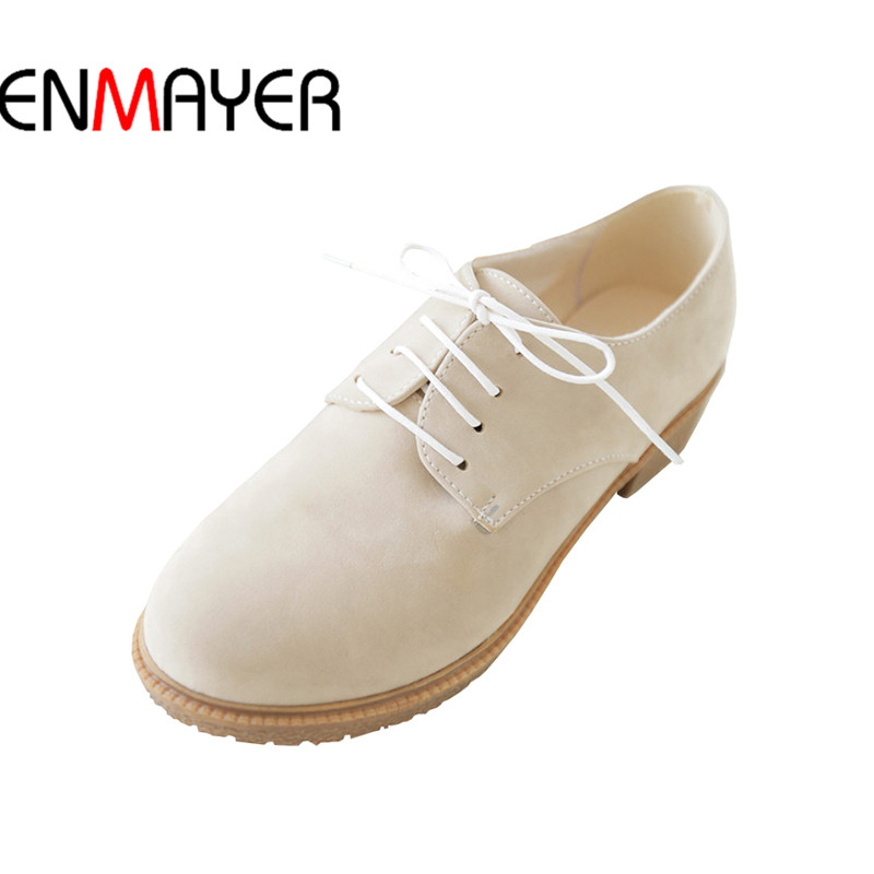 ENMAYER Shoes Woman Internal Wedges Shoe34-43 Relax Women Casual Shoes 2017 Summer Lady 4cm Lace-Up Round Toe<br>