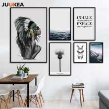 Fashion Landscape Posters Canvas Art Print Painting Wall Pictures For Living Room Nordic Beautiful Girl Butterfly Ocean Plant(China)