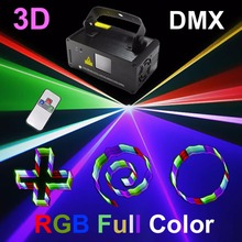 AUCD Mini PRO Remote 8 CH DMX 3D Effect 400mW RGB Full Color Laser Scanner Light DJ Party Bar Wedding Projector Stage Lighting(China)