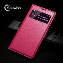 Asuwish Smart View Flip Cover Leather Case For Samsung Galaxy S4 Mini S4mini I9190 I9192 S4 S 4 I9500 I9505 Phone Case Sleep Bag