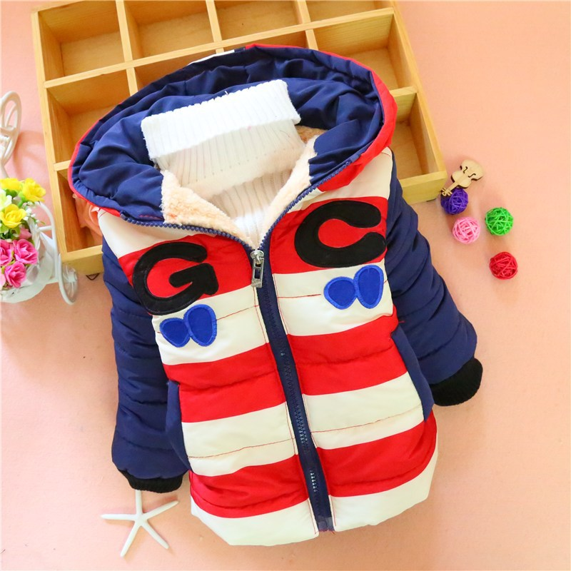 Boys New Winter Coat Baby Cotton Winter Warm Jacket Kids Fashion Hooded Clothes Letter Plus Velvet Thick Jacket V-0262Одежда и ак�е��уары<br><br><br>Aliexpress