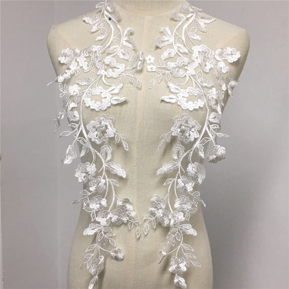 1 Pair Ivory Flower Embroidered With Sequins DIY Wedding Dress Lace Applique
