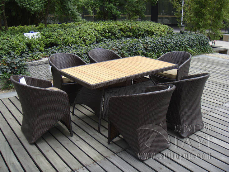 7 Pcs Rattan Garden Dining Sets Wicker Outdoor Furniture Transport By Sea