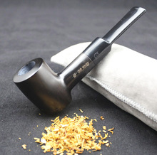 16 Tools Durable Smoking Pipe Set Handmade Natural Black Weed Tobacco Ebony Wood Smoking Pipe 9mm Filters 540y(China)