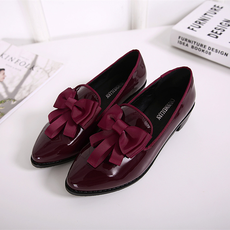 2017 New women causal flat shoes High quality patent leather wine red pointed toe bow knot ladies loafer shoes plus size 42 ML05<br><br>Aliexpress