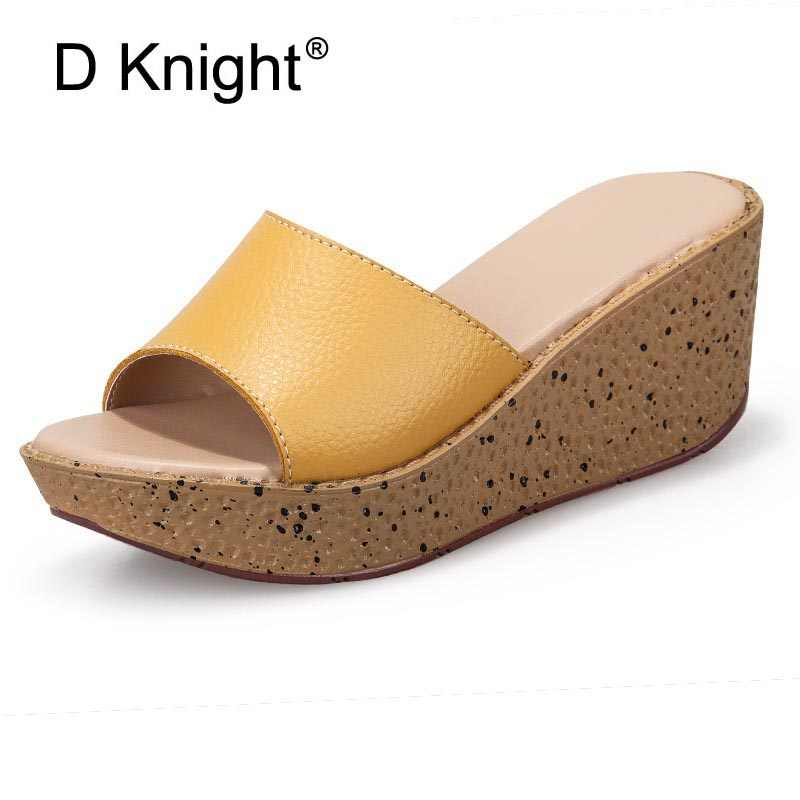 Sandals Women Summer Platform High Heels Wedges Shoes Ladies Casual Genuine  Leather Shoes Woman Wedge Slippers Beach Sandals