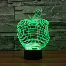7 Colors Creative 3D Apple USB  Led Touch Switch Night light Home Decor Colorful Atmosphere  Bedroom Desk lamp for Children Gift