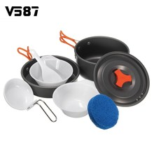8Pcs/set Outdoor Camping Cookware Utensils Combination Cooking Tableware For Picnic Bowl Pot Pan Set Kitchen Dining Tool