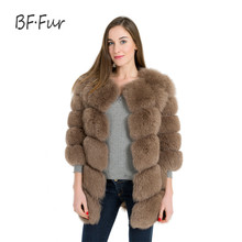 Buy BFFUR new Real Fur Coat Genuine Leather Fox Fur Winter Coat Women 75cm Length Plus Size 6XL Box Style Female Coat BF-C0170 for $315.18 in AliExpress store