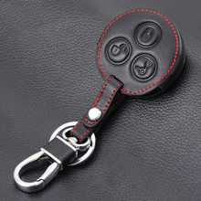 3 Buttons Leather key Cover Car Keychain Key Fob Case Cover wallet For Mercedes Benz Smart Fortwo Forfour City Roadster(China)
