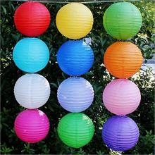 "20pcs/lot 8"" 20cm Chinese Traditional Round Paper Lanterns Holiday Decoration White Hanging Ball Lamp For Wedding Birthday Party(China)"