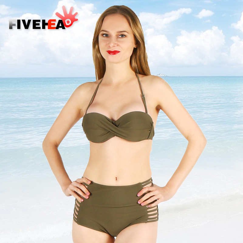 bikini women swimwear sexy sling low waist back lace large size big cup bathing body suit swimsuit biquini solid color female<br>